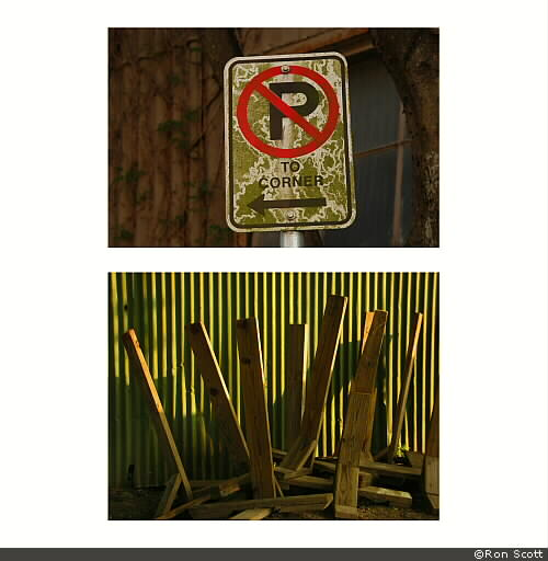No Parking And Corrugated Wall Posts ©Ron Scott