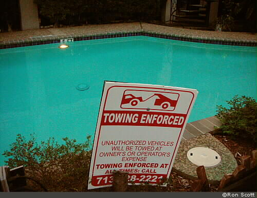 Towing Enforced at Pool ©Ron Scott